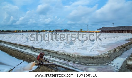 Salt fields an industry in thailand on night time