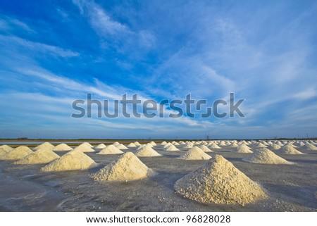 Salt fields in thailand - stock photo