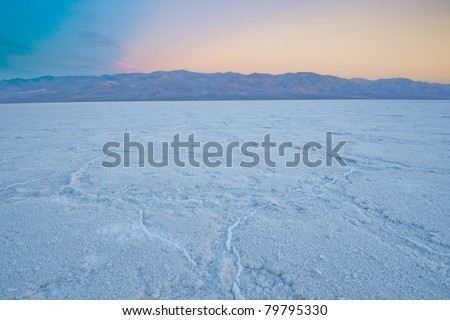 Salt in Badwater Basin,Death Valley, California.  The lowest point in north America,