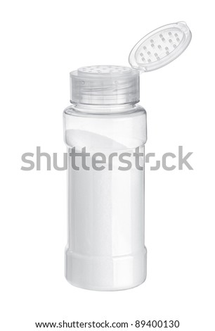 Salt in the salt shaker on white background