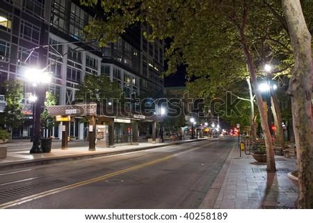 Salt Lake City, night scene, street, station, lights and buildings
