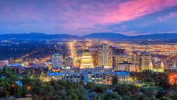 Salt Lake City skyline Utah at night in USA