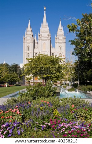 Salt Lake City Temple and its colorful garden