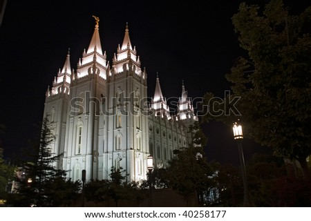 Salt Lake City Temple, night scene