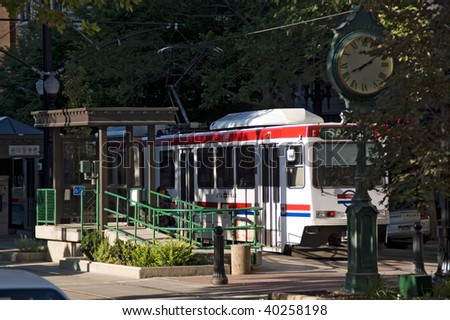 Salt Lake City, Utah, a view of the trolley station and a town clock