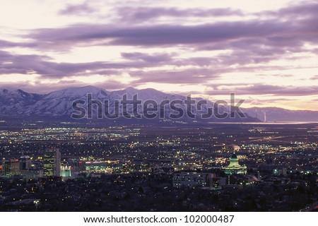 Salt Lake City, Utah at twilight