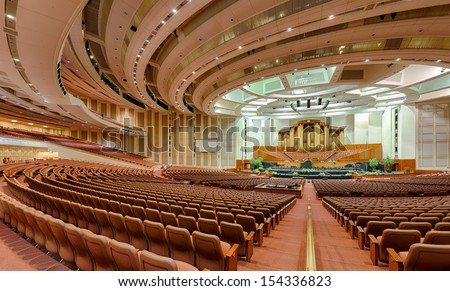 SALT LAKE CITY, UTAH - AUGUST 16: Empty auditorium in The Church of Jesus Christ of Latter Day Saints Conference Center on August 16, 2013 in Salt Lake City