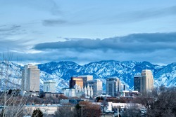 Salt Lake City Winter Skyline taken at Blue Hour