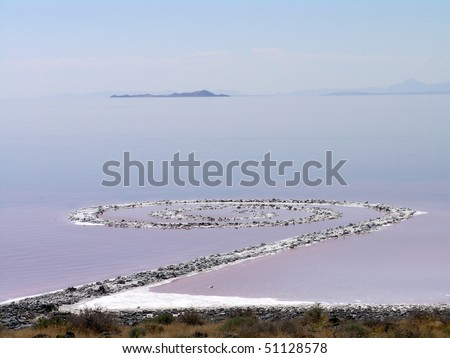 SALT LAKE, UTAH - AUGUST 25: view of Spiral Jetty, Robert Smithson's masterpiece earthwork, on the north side of the Great Salt Lake, about two-and-a-half hours from Salt Lake City.   AUGUST 25, 2005