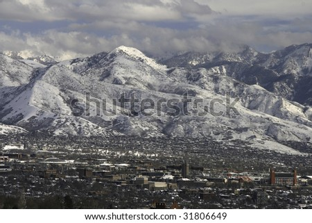 Salt Lake Valley with snow