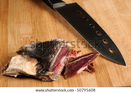 salt meat also known as dry meat delicacy in northern Sweden - stock photo