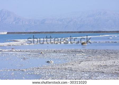 salt mineral coating  above dead sea