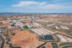 Salt mines in Castro Marim from drone, Algarve