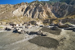 Salt mining field in the mountains of Dagestan, Russia