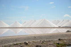 Salt mountains in Bonaire. Salt Pyramids , caribbean island, dutch antilles. Salt mountain range. Salt towers