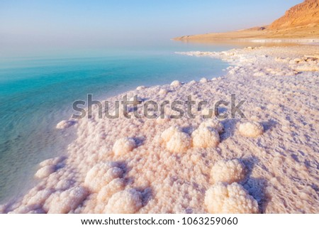 Salt on the shore of the Dead Sea. Jordan landscape #1063259060