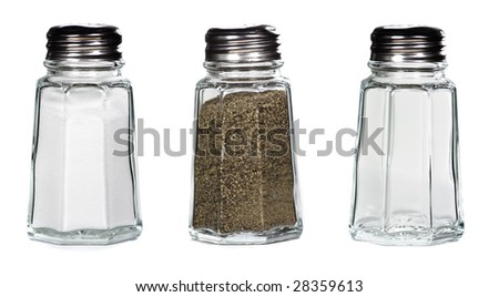 salt, pepper, and empty classic shakers on white background - stock photo