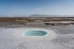 Salt pond in the dry land. Photo in Qinghai, China.