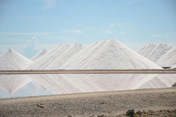 Salt Pyramids in Bonaire, caribbean island, dutch antilles. Salt mountains, Salt mountain range