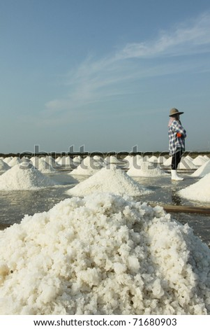 Salt texture with farmer, salt pile in Thailand, salt pan.
