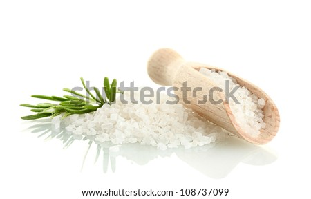 salt with fresh rosemary isolated on white