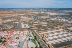 Salt works in Castro Marim from drone, Algarve
