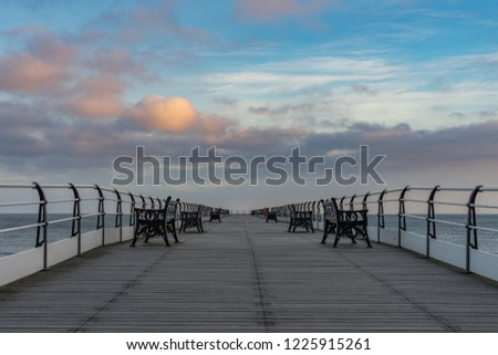 Saltburn pier after sunrise. #1225915261