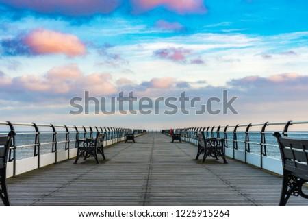 Saltburn pier after sunrise. #1225915264