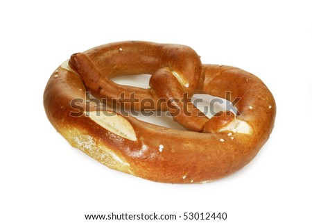 Salted bavarian pretzel on bright background