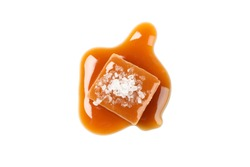 Salted caramel candy with sauce isolated on white background