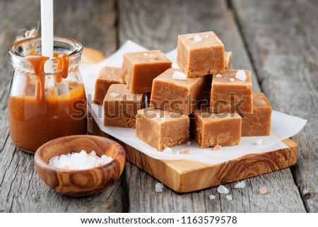 Salted caramel pieces and sea salt. Golden Butterscotch toffee caramels.