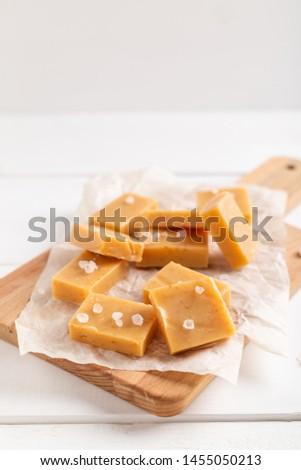 Salted caramel pieces and sea salt. Golden Butterscotch toffee caramels. #1455050213