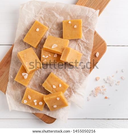 Salted caramel pieces and sea salt. Golden Butterscotch toffee caramels. #1455050216