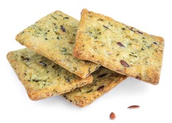 Salted crispy crackers with sesame, rosemary and sunflower seeds isolated on white background. Macro food