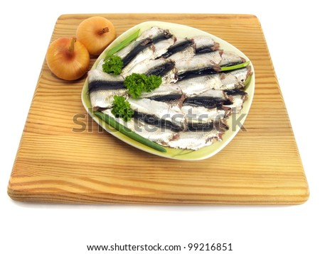 Salted herrings on a white background
