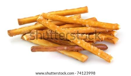 Salted pretzel snack on the white background