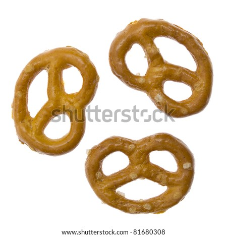 Salted pretzels isolated on white background