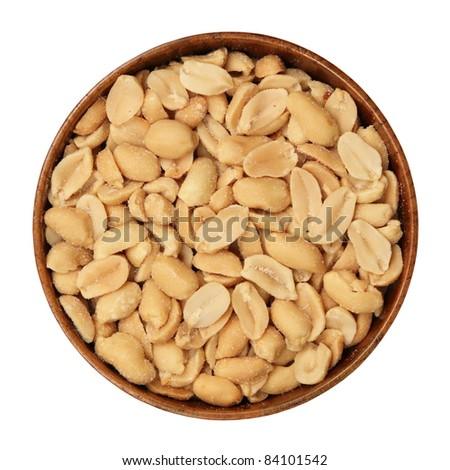Salted, roasted, peanuts in a wooden bowl