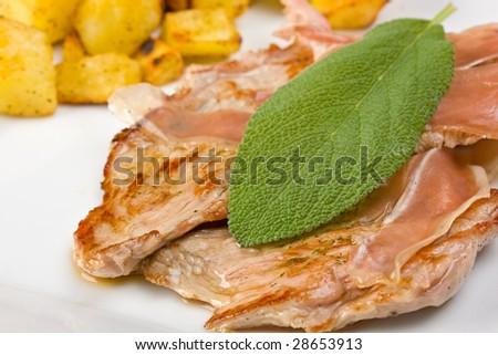 saltimbocca alla romana with potatoes