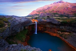 Salto del Agrio waterfall and Agrio river on summer day. Patagonia, Argentina, Andes, South America