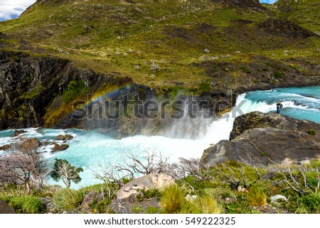 Salto Grande waterfall in Torres del Paine national park, Patagonia, Chile #549222325