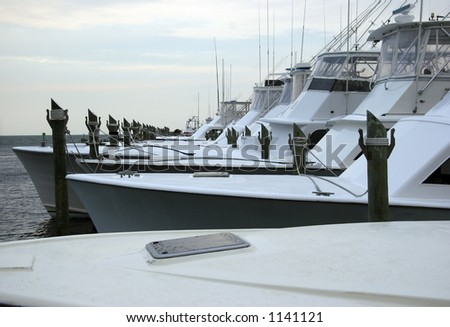 Saltwater Fishing Sport Boats at a Marina in the Morning
