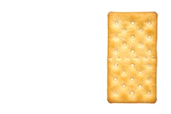 Salty cracker, crispy appetizer, rectangle shape cookie. Isolated on white background. Copy space template, mockup.