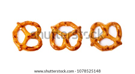 Salty cracker pretzel isolated on white background