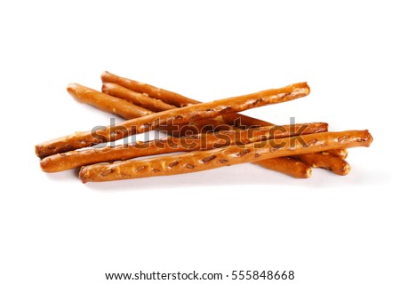 salty cracker pretzel sticks isolated on white background #555848668