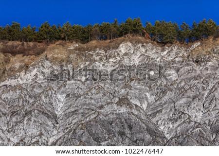 Salty hills in summer at Lopatari Buzau county Romania