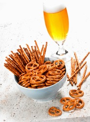 Salty nibbles with a glass of beer