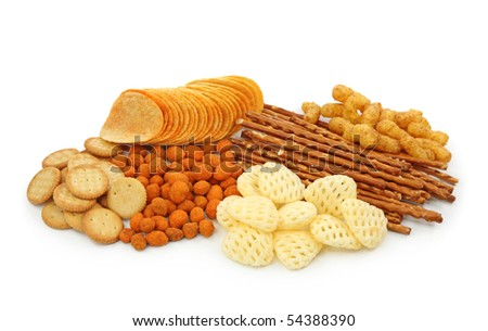 Salty snacks isolated on white background