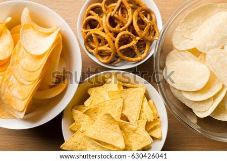 Salty snacks. Pretzels, chips, crackers #630426041