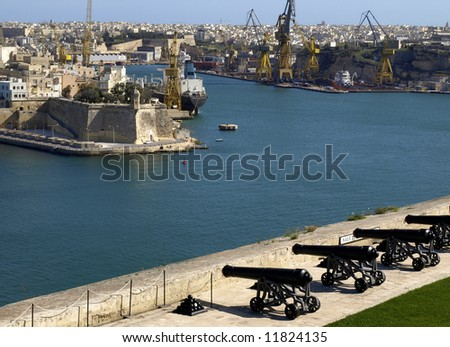 Saluting battery overlooking the Grand Harbour in Malta - stock photo